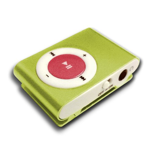 Clip-Dat Gold Mini Clip MP3 Player w/ Red Button & Mix-Dat Jet Black Earphones w/ White Boots - Assembled, QC Tested, & Imaged by FairlyAdept -  Same Day Processing - (Clash-r-Match Combo)