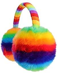 Flammi Kids Winter Earmuffs Warm Faux Fur Ear Warmers (Rainbow, Furry)
