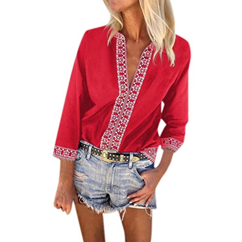 Aniywn Women Bohemian Beach Printed Tops Blouse Casual 3/4 Sleeve Plus Size Tunic T-Shirt Spring Red ()