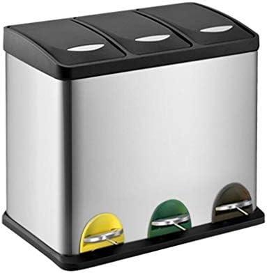 ゴミ袋 ゴミ箱用アクセサリ ステンレス鋼分類ゴミ箱ペダル環境保護ゴミ箱3バレル24 L / 45 L家庭用乾湿両方ゴミ分類バレル キッチンゴミ箱 (サイズ : 24L)