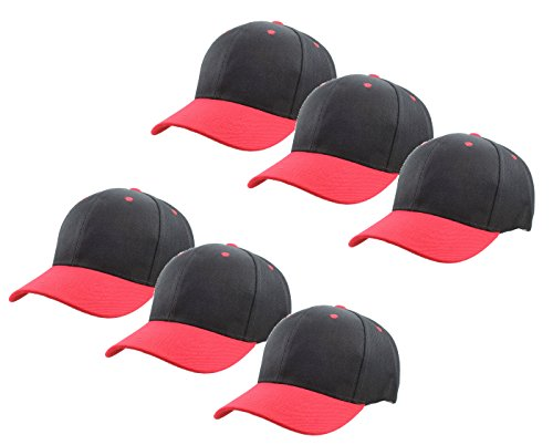 (Gelante Plain Blank Baseball Caps Adjustable Back Strap Wholesale Lot 6 Pack - 001-Black/Red-6Pcs)