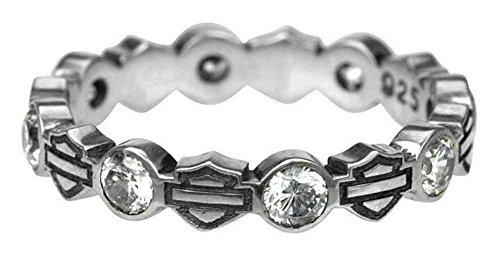 Harley-Davidson Women's Ring, Stacking Bar & Shield Rhinestone Ring HDR0170 (6) ()