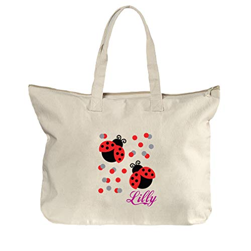 Personalized Custom Text Two Cute Ladybugs Cotton Canvas Beach Zipper Tote Bag