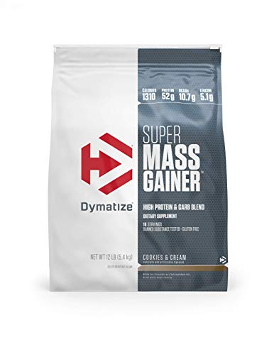 Dymatize Super Mass Gainer Protein Powder with 1280 Calories Per Serving, Gain Strength & Size Quickly, Cookies & Cream, 12 lbs