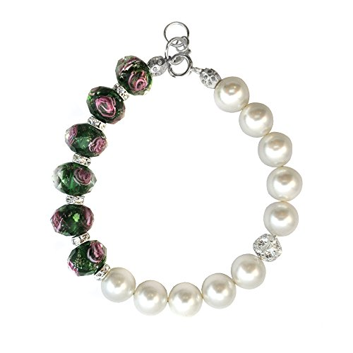 Bracelet Made with Green Faceted Lampwork Glass and Swarovski Crystal Elements 7,8,9