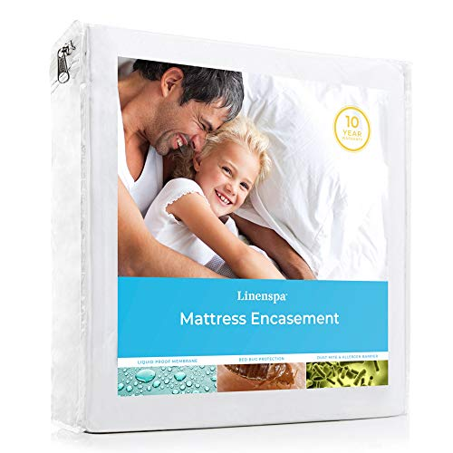 - LINENSPA Zippered Encasement Waterproof, Dust Mite Proof, Bed Bug Proof, Hypoallergenic Breathable Mattress Protector - Queen Size