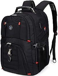 Extra Large Durable 50L Travel Laptop Backpack School Backpack Travel Backpack College Bookbag with USB Charging Port fit 17 Inch Laptops for Men Women Including Lock Black