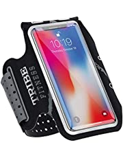 TRIBE Running Phone Holder Armband. iPhone & Galaxy Cell Phone Sports Arm Bands for Women, Men, Runners, Jogging, Walking, Exercise & Gym Workout. Premium Japanese Lycra. Strap Extension & Key Pocket.