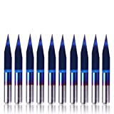"SainSmart Genmitsu 10Pcs Nano Blue Coat Engraving Bits, 20 Degree 0.1mm Tip 1/8"" Shank Conical V-Bit"