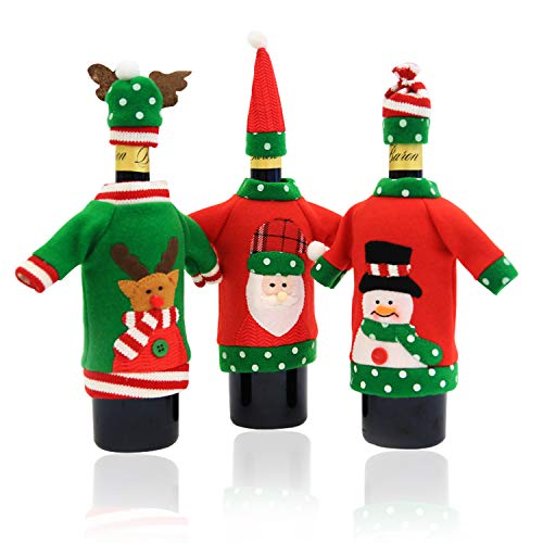 Ugly Sweater Christmas Party Kit, Knitted Christmas Wine Bottle Cover&Toppers for Beer Water Bottles Ornament for Xmas Christmas Party Favors Supplies Table Decoration Decor (3pack)