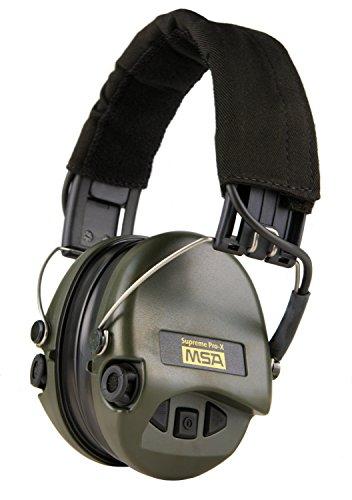 MSA Sordin Supreme PRO X - Digital Electronic Earmuff Amplification AUX-Input Black-Green Gel-Seals by MSA Sordin