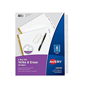 Avery Big Tab Write & Erase Dividers, 8 White Tabs, 1 Set (23078)