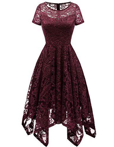 Bridesmay Women's Elegant Short Flare Sleeves Floral Lace Asymmetrical Hanky Hem Cocktail Party Bridesmaid Dress Burgundy 2XL