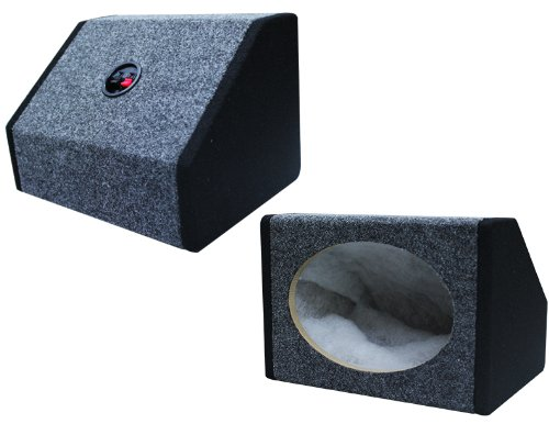 Absolute USA 6X9PKBG 6 X 9 Inches Angled/Wedge Box Speakers, Set of Two (Black/Grey) ()