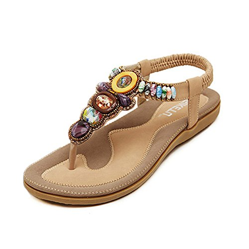 Qianbo Women's Casual Style Thong Sandals With Bohemian Beads Apricot US 7