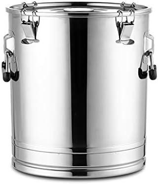 寸胴鍋 大スープバケツ、ステンレス鋼の肥厚は、蓋付きのバレルを封印され、漏れなく液体輸送、大容量 (Color : Silver, Size : 50cm×54cm)