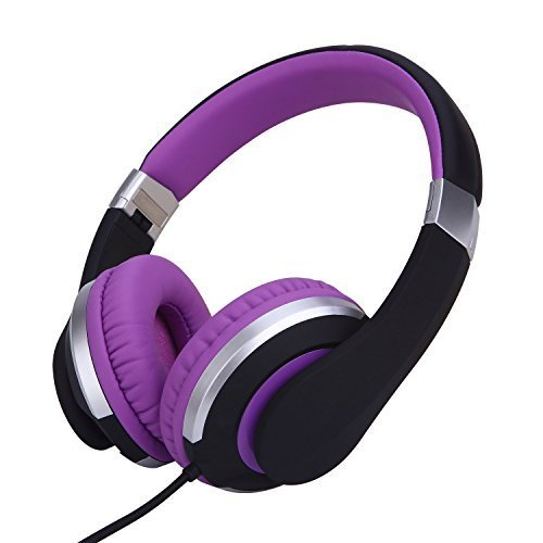 RockPapa I22 Foldable Adjustable On Ear Headphones with Microphone for Kids/Adults iPhone iPad iPod Tablets MP3/4 DVD Computer Black/Purple