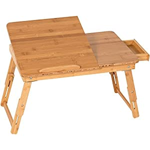 Adjustable Laptop Desk Table Tilting Top Drawer Breakfast Bed Tray 100% Bamboo