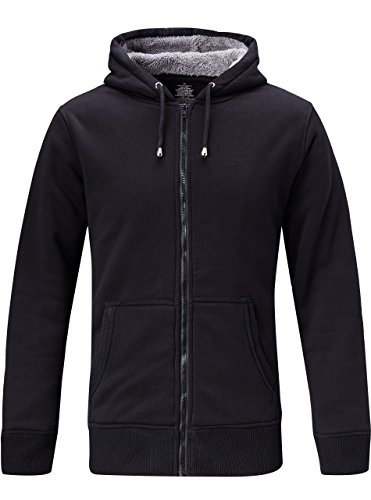 ZITY Mens Casual Fashion Active Jersey Hooded Zip Front Jacket Sweatshirt Black US M/Lable L