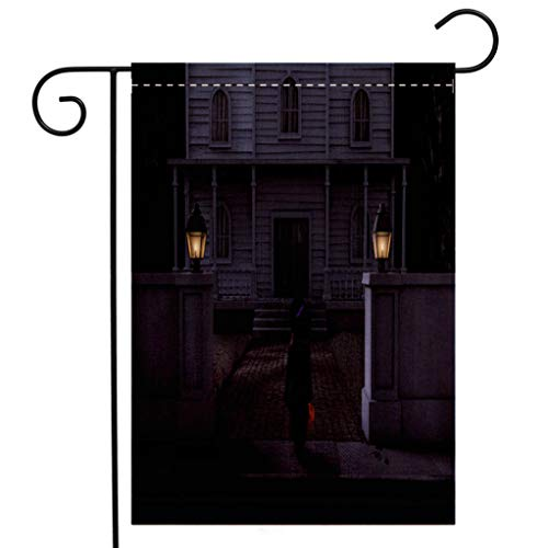 BEIVIVI Creative Home Garden Flag Haunted House Mansion Trick or Treater Halloween Night Welcome House Flag for Patio Lawn Outdoor Home Decor