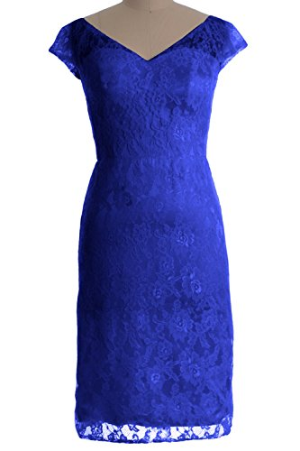 MACloth Women Customized V Neck Lace Short Mother of Bride Dress Cocktail Gown Azul Real