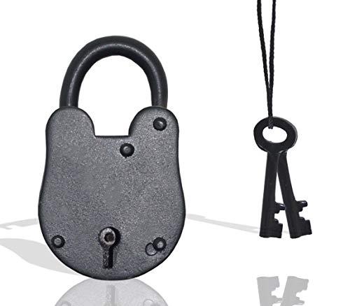 Antique Vintage Style Padlock - Medieval Iron Jailer Lock with Keys Set (3