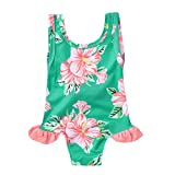 Bokeley Baby/Toddler Girls Floral Print One Piece Swimsuit Bathing Suit Swimwear (2-3 Years, Green)