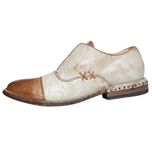 Most Gifted! Teresamoon Fashion Women's Retro Flat Low-Heeled Shoes Round Head Shallow Mouth Bare Boots White and Brown ()
