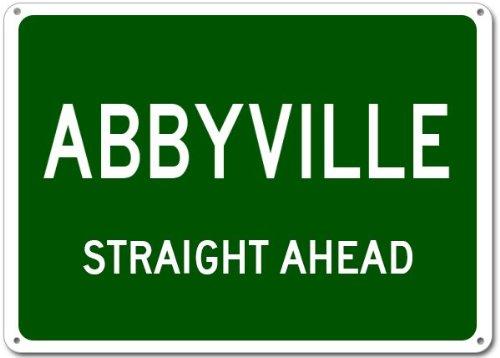 """ABBYVILLE, KANSAS Straight Ahead City - Heavy Duty - 12""""x18"""" Quality Aluminum Sign"""