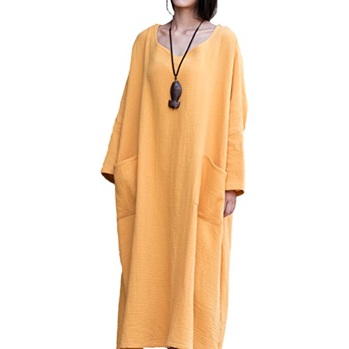 Batwing Travel yellow Linen Style2 Dress Casual Cotton Maxi Women's Clothing Aeneontrue S4aFF