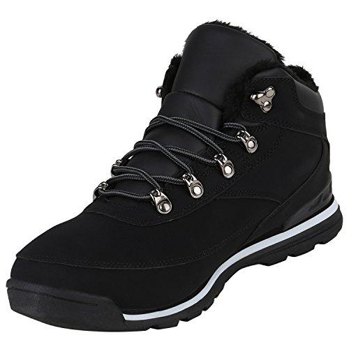 Stiefelparadies Herren Outdoor Boots Gefütterte Winter Schuhe Bequem Profil Sohle Flandell Schwarz Weiss