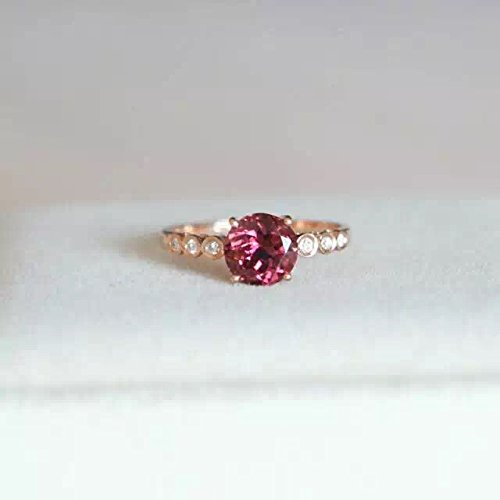 - 1.42 Carat Rhodolite Garnet Engagement Ring In 14K Rose Gold