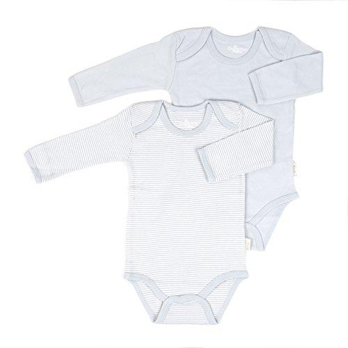 Tadpoles Organic Cotton Romper Set Pinstripe/Solid, Grey, 3-6 Months