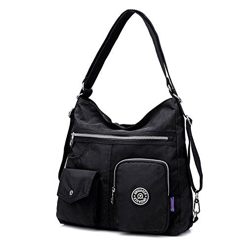 Outreo Mujer Bolsos de Moda Impermeable Mochilas Bolsas de Viaje Bolso Bandolera Sport Messenger Bag Bolsos Baratos Mano para Tablet Escolares Nylon Negro