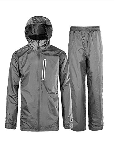 - Rain Suit Gear Coat for Men Waterproof Hooded Rainwear Jacket & Trouser Grey Small