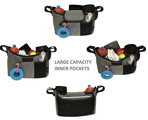 OLIVIA & AIDEN Stroller Organizer Set - Universal Fit Durable Multi Pocket Compact Diaper Bag, Padded Shoulder Strap, Stroller Safety Belt Wrist Strap, 2 Stroller Bag Hooks – Carriage Accessories Set