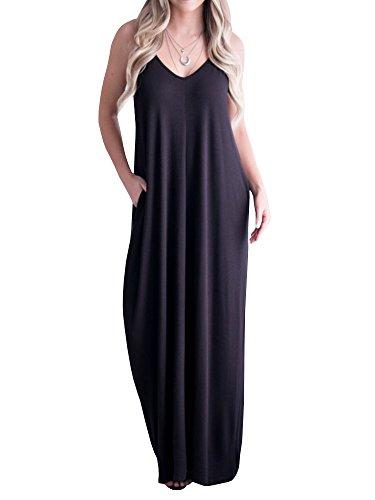 Mafulus Womens Summer Maxi Dresses Spaghetti Strap V Neck Sleeveless Casual Long Dress with Pockets