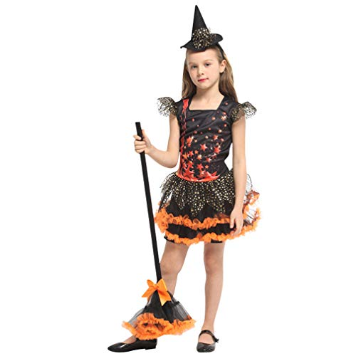 Novel Witch Kids Costume Halloween Miss Matched Witch Girls Fancy Dress Costume pretty lovely outfit Child dress Skirt,Perfect for carnivals, indoor events,theme parties and Halloween etc,XL(height:12 -