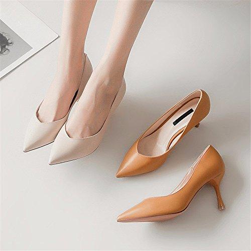 YMFIE Tacones señaló Temperamento Zapatos Solo Sexy creamy Estilete de señoras Boca Altos Baja de white Trabajo Las Fiesta Zapatos Simple Zapatos de Tx0xtwr