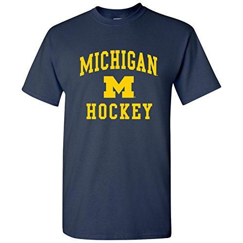 Mens Hockey Arch T-shirt - AS1092 - Michigan Wolverines Arch Logo Hockey T Shirt - 3X-Large - Navy