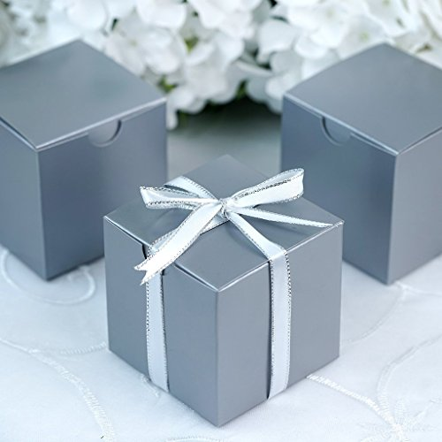 Efavormart 100 pcs of 3x3x3 Silver Favor Box for Candy Treat Gift Wrap Box Party Favor Boxes for Bridal Shower Wedding Party