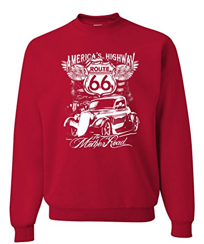 Route 66 America's Highway Crewneck Sweatshirt The Mother Road Biker Motorcycle 2XL - 66 Highway Route Motorcycle Americas