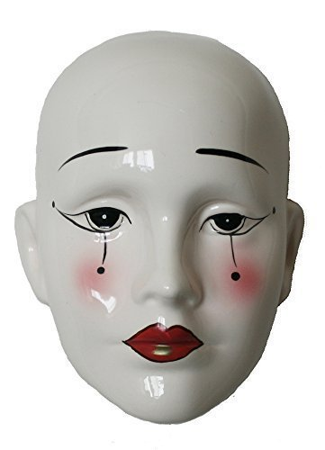 Porcelain Mask Pierrot , White Color with Tear Drops, Size: 6