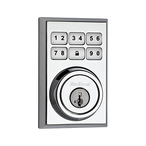 Kwikset 910 Z-Wave Contemporary SmartCode Electronic Touchpad Deadbolt, Featuring SmartKey in Polished Chrome, Works with Alexa via SmartThings or Wink -