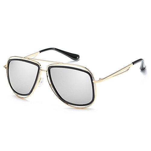 Diseño UV400 mujeres clásicas aviador las los para retro masculinas de del Gafas retro de grandes Plata del marco diseñador de de las hombres Gafas mujeres sol oro xwq48OSz