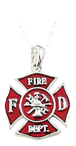 Sports Accessory Store Fireman Small Red Maltese Cross Silver Chain Necklace Jewelry Firefighter Gift