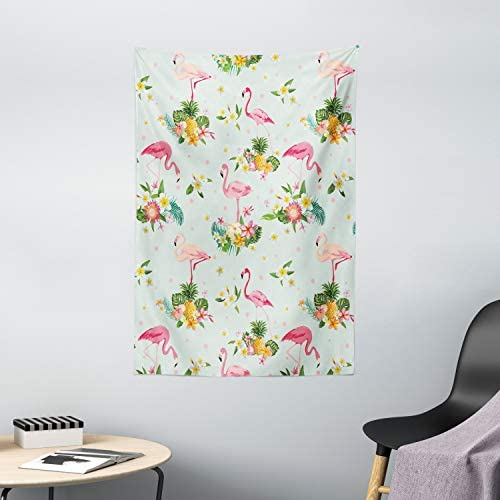 Ambesonne Flamingo Tapestry, Flamingo Bird Tropical Flowers Fruits Pineapples Vintage Style Artwork, Wall Hanging for Bedroom Living Room Dorm Decor, 40 X 60 , Turquoise White