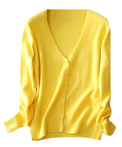 - OULIU Women's Button Down V-Neck Soft Cashmere Cardigan Sweater Yellow L