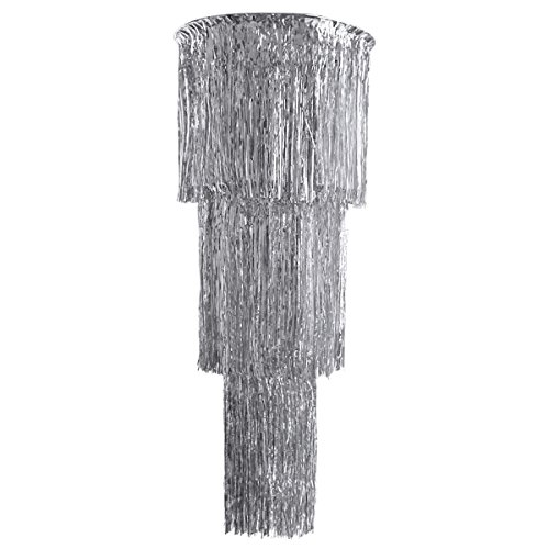 NICROLANDEE Carnival 3 Tier Foil Fringe Chandelier Silver Metallic Shimmering Cocktail Party Hanging Ceiling Lamps for Valentines Birthday Fiesta Hen Night Party Baby Shower Decoration