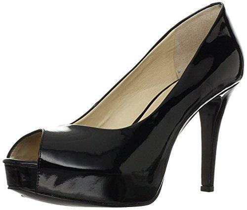 Nine West Women's Camya Peep-Toe Pump,Black Patent,11 M US